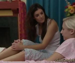 Petite teen rubbing milf 6..