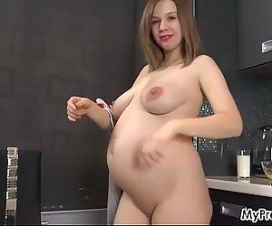 Fingering Her 37-Week..